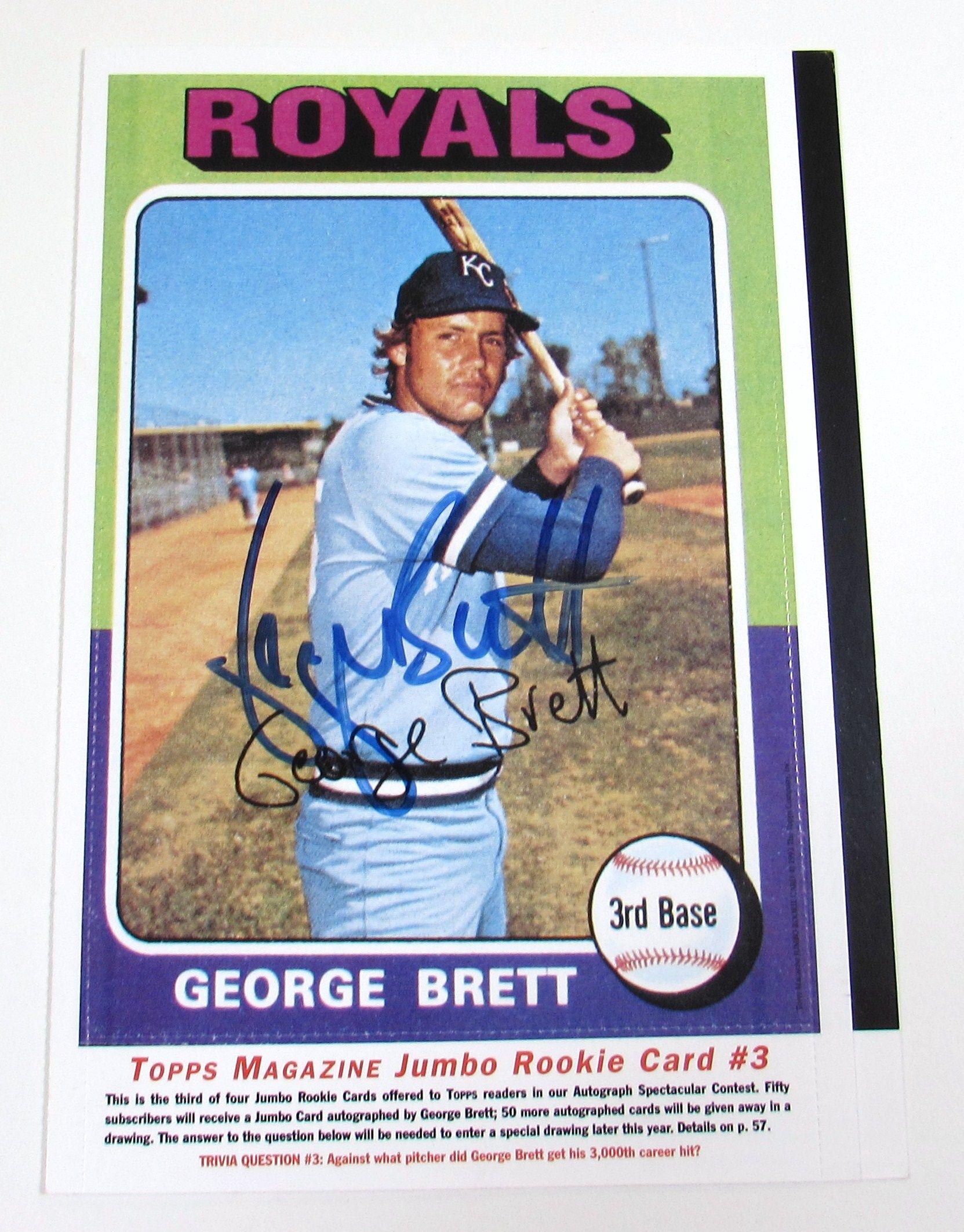 Lot Detail Topps Magazine Signed George Brett Jumbo Card