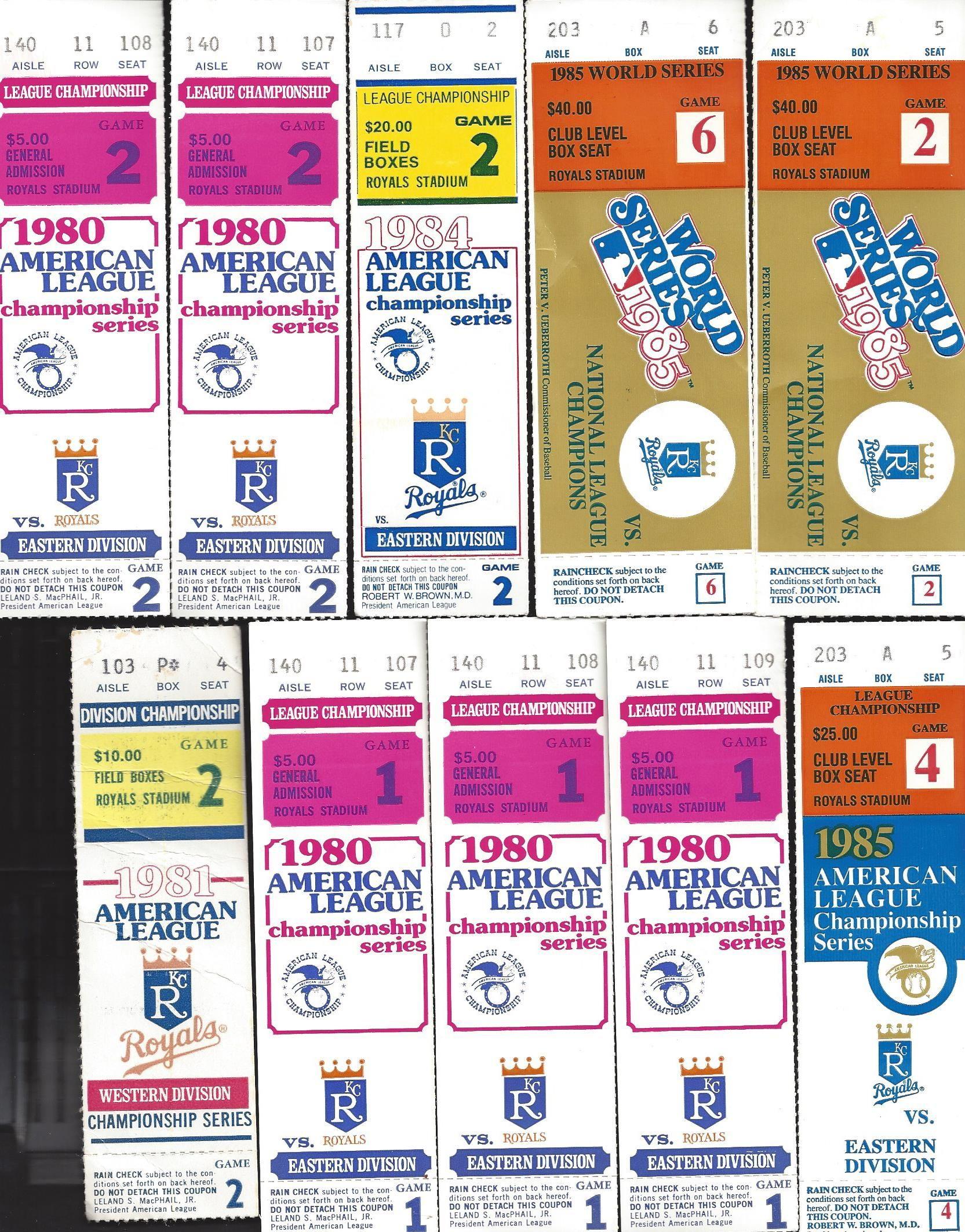10 Lot Ticket Stubs 5 1980 ALCS 1 1981