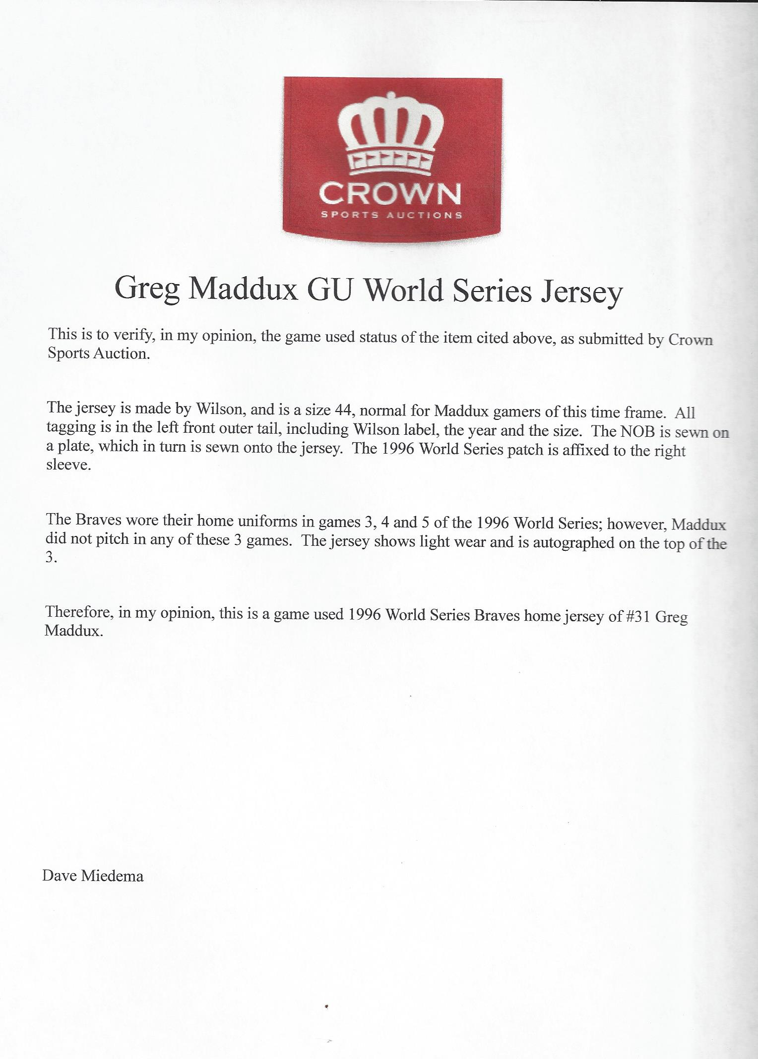 separation shoes 26f57 12c8e Lot Detail - 1996 WS Greg Maddux Game Used Signed Jersey