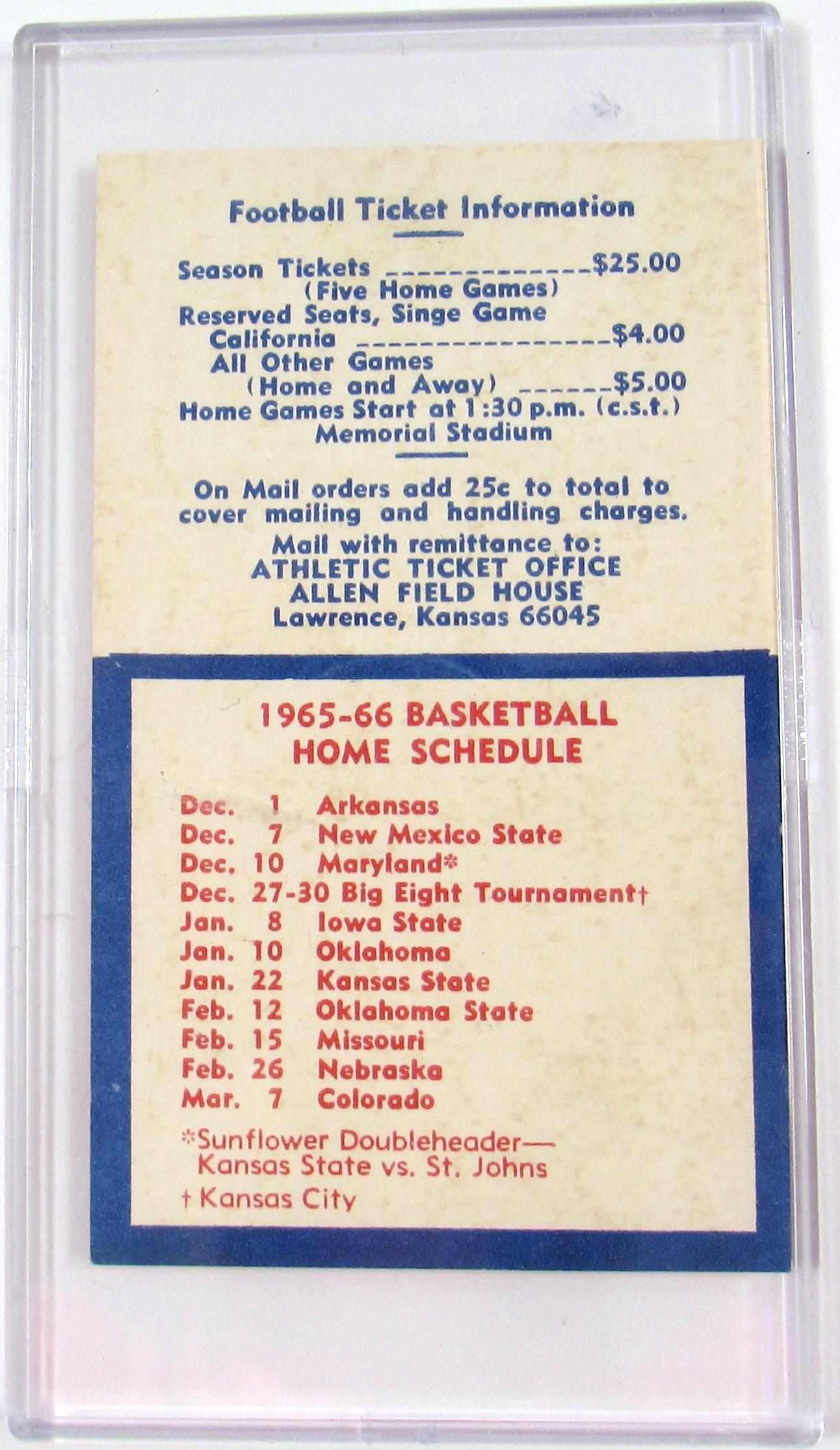 lot detail - 1965 ku football & basketball pocket schedule