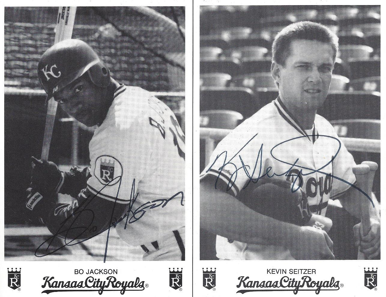 Lot Detail Bo Jackson And Kevin Seitzer Signed Team Issued Cards