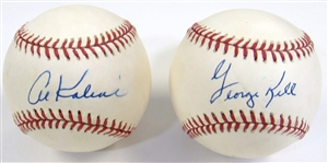 Lot of 2 Signed Balls (Al Kaline & George Kell)