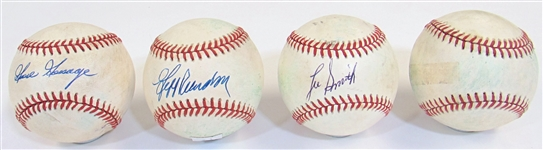 Lot of 4 Single Signed Balls of Closers (Gossage, Reardon, Smith, & M. Davis)