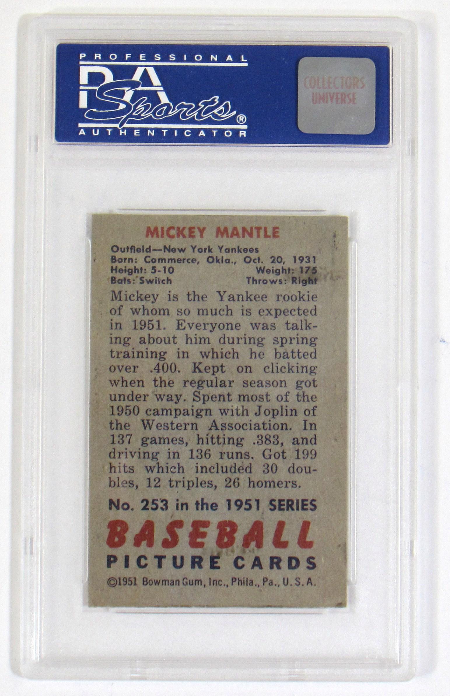 Lot Detail 1951 Bowman Mickey Mantle Rookie Psa 3
