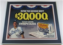 George Brett Signed Framed Lifebuoy Poster 29x23