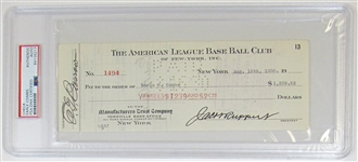 Earle Combs PSA/DNA NY Yankees Paycheck.