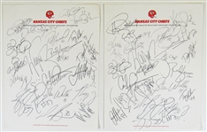 Kansas City Chiefs Signed Autograph Page - Carl Peterson Etc x 2